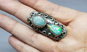 Rustic Opal Ring - 14k Gold - Sterling Silver & Gold y #1628