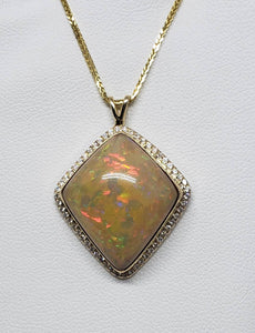 Opal Diamond Gold Pendant Necklace