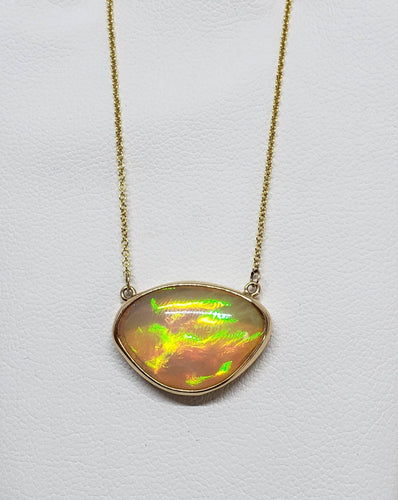 Opal Pendant - 14k Gold Split Chain Necklace