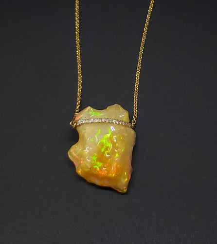 Carved Opal Pendant 14k Gold