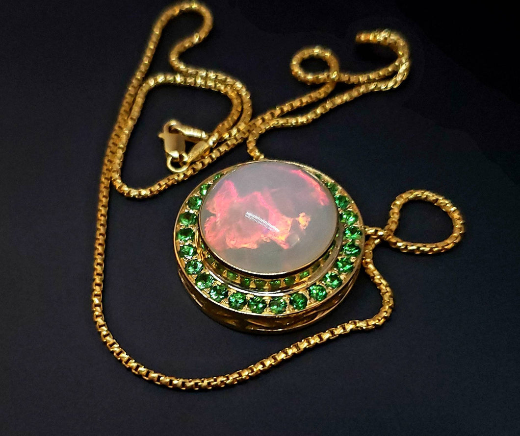 Opal Gold Pendant Necklace