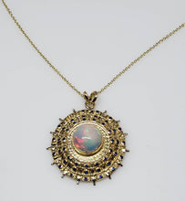 Load image into Gallery viewer, Opal Gold Medallion Pendant Necklace