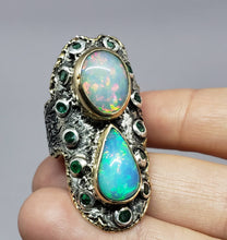 Load image into Gallery viewer, Rustic Opal Ring - 14k Gold - Sterling Silver & Gold y #1628