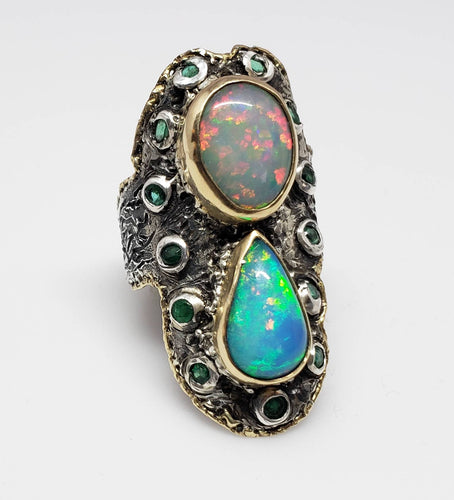 Opal Emerald Silver Ring