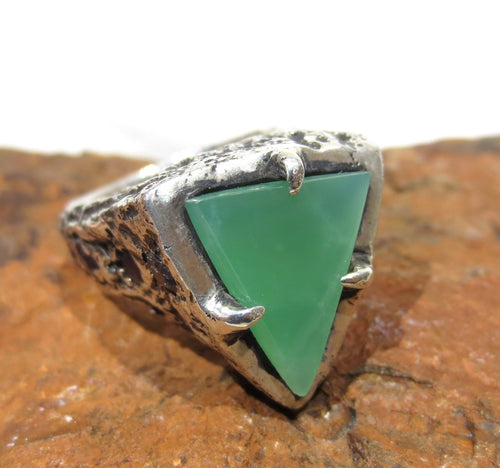 Sterling Silver Ring Size 7 - Natural Chrysoprase  #1217