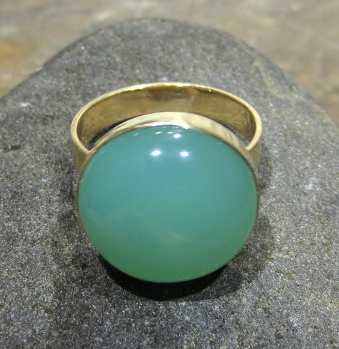 Chrysoprase Ring - 14k Gold  #1226
