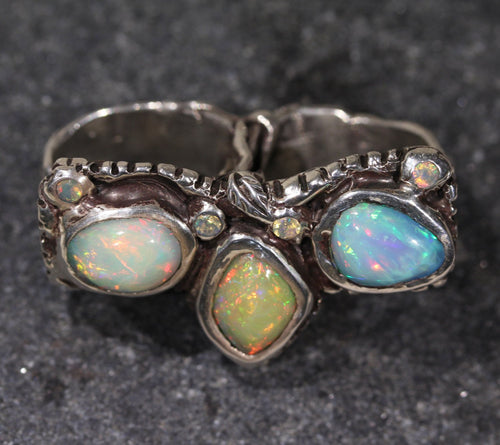 Silver Opal Double Ring
