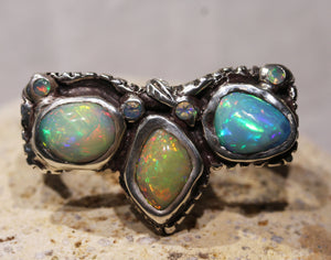 Multi-finger Opal Ring Sterling Silver #1278
