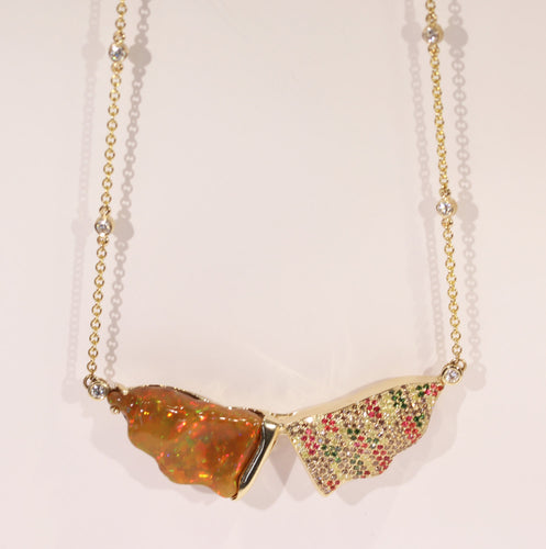 Opal Gemstone Gold Pendant Necklace