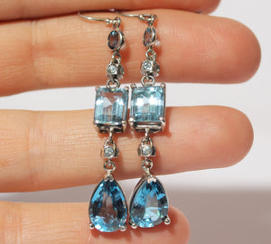 Blue Topaz Earrings - Sterling Silver #1357