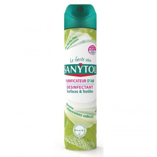 Disinfectant Purificateur d'Air Surfaces et Textiles Menthe  Sanytol