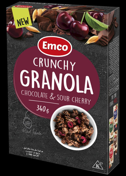 Crunchy Granola Chocolate & Sour Cherry Emco 340g