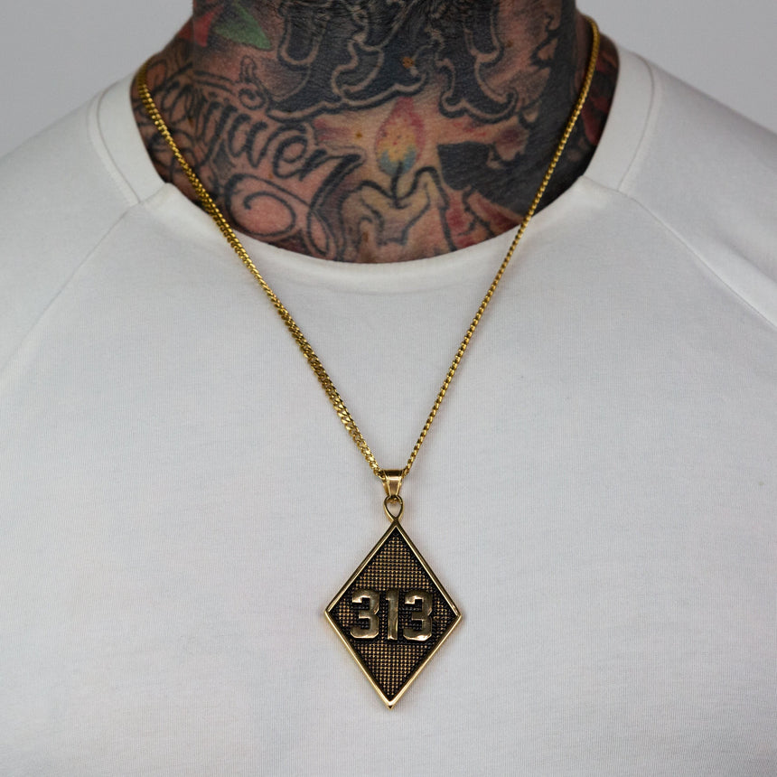 313 Solid Pendant Necklace - Gold