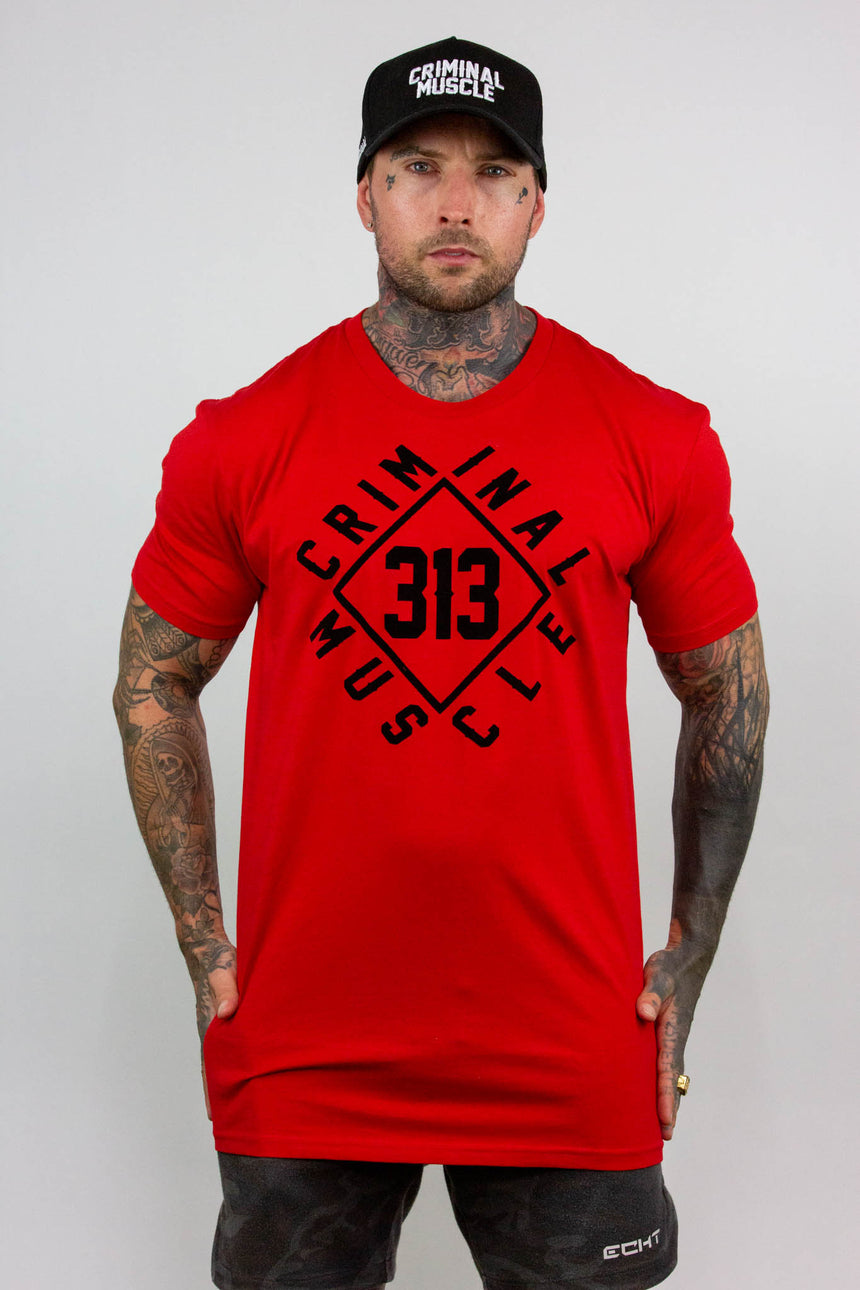 Mens Diamond Wrap Tee - Red/Black