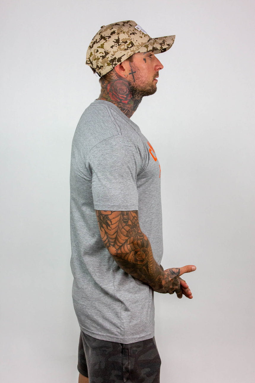 Mens Arch Logo Tee - Grey/Orange