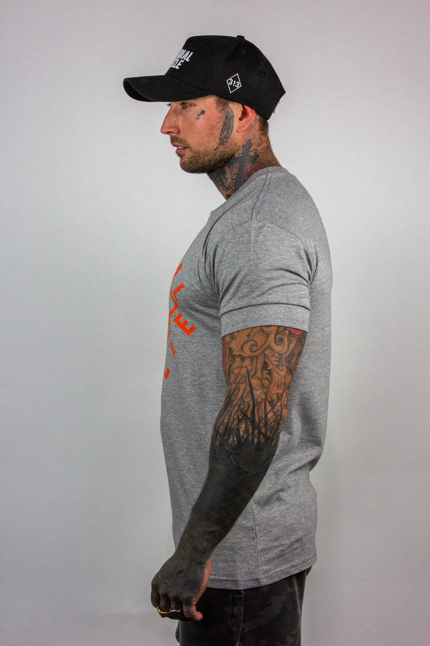 Mens Diamond Wrap Tee - Grey/Orange
