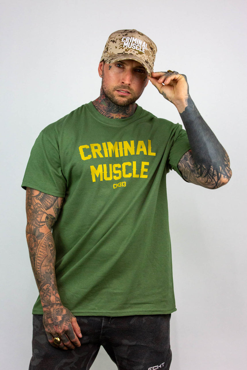 Mens Arch Logo Tee - Green/Gold