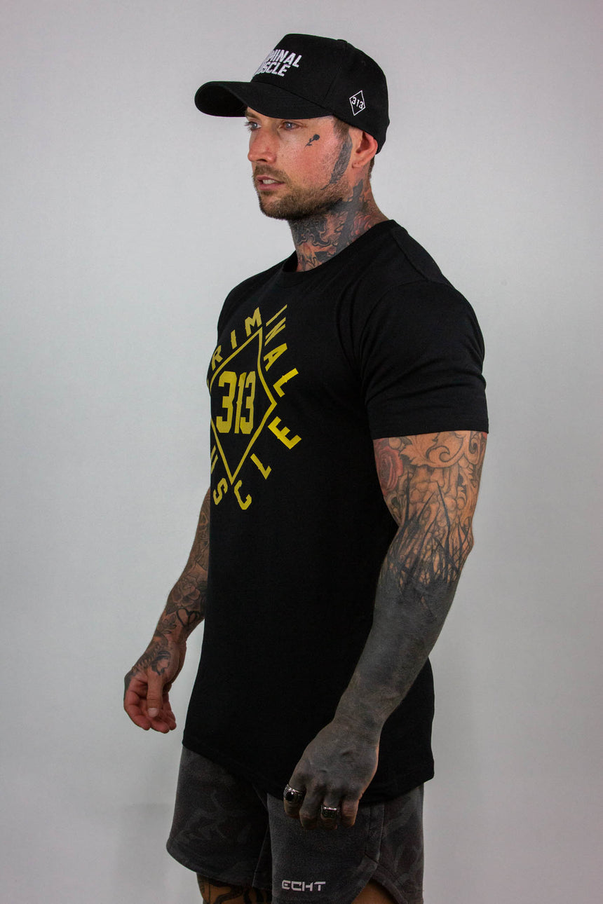 Mens Diamond Wrap Tee - Black/Gold