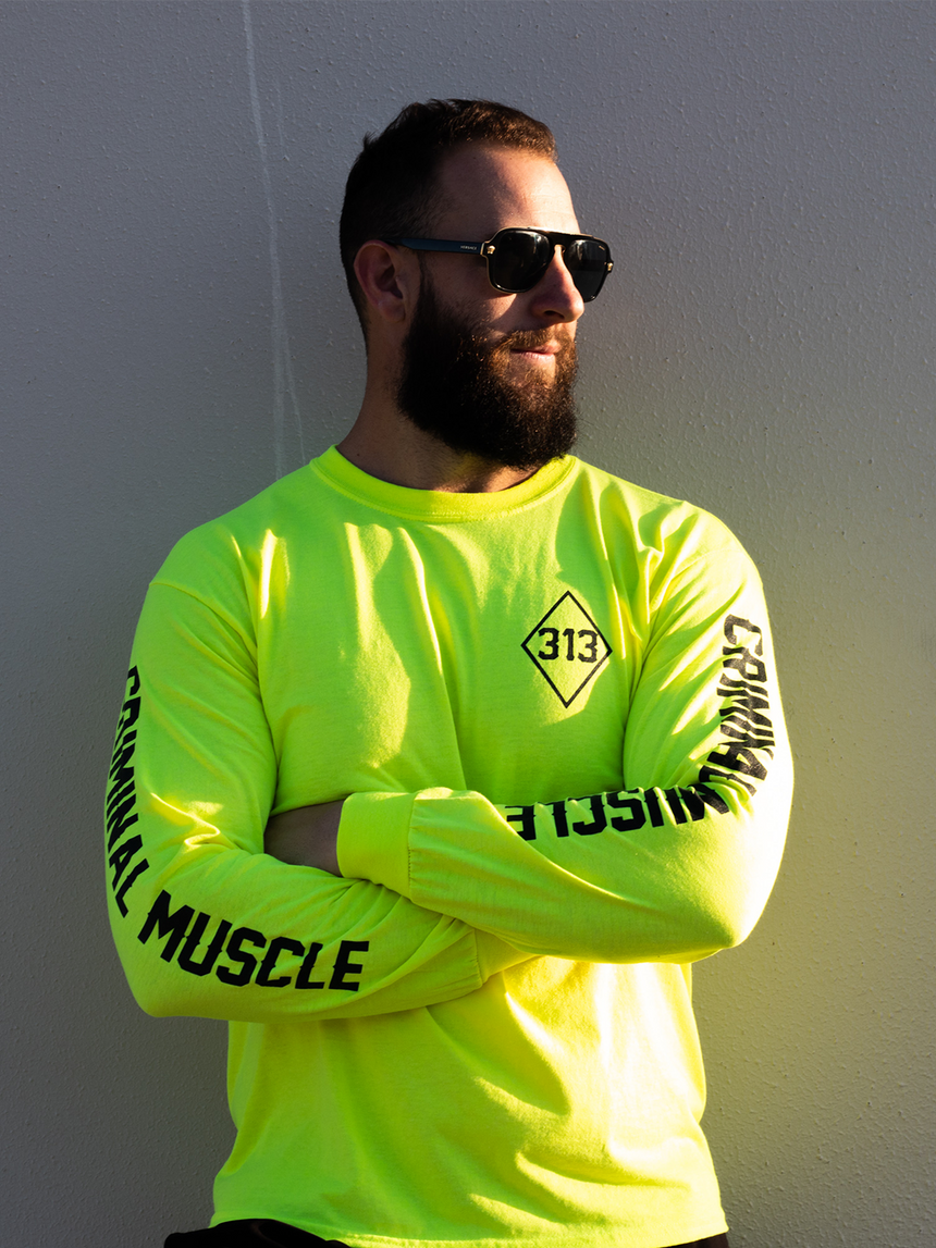 Mens L/S Diamond Tee - Neon