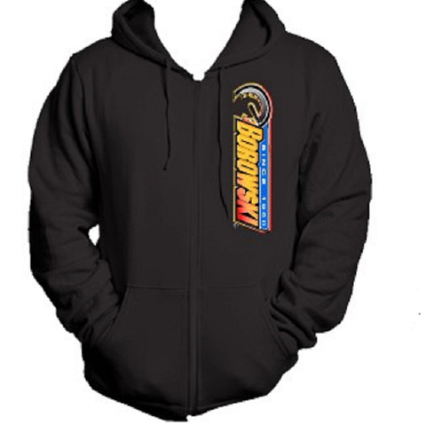 Borowski Zipper Hoodie, 2-Side Printed, Black, Sizes: Small - 3XL