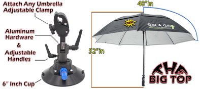 "The Grip 6 inch cup with 80"" Big Top Umbrella COMBO"
