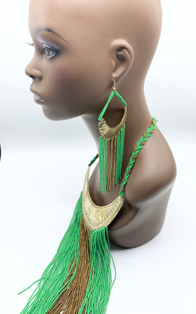 Beaded Green Goddess ( WITHOUT EARRINGS