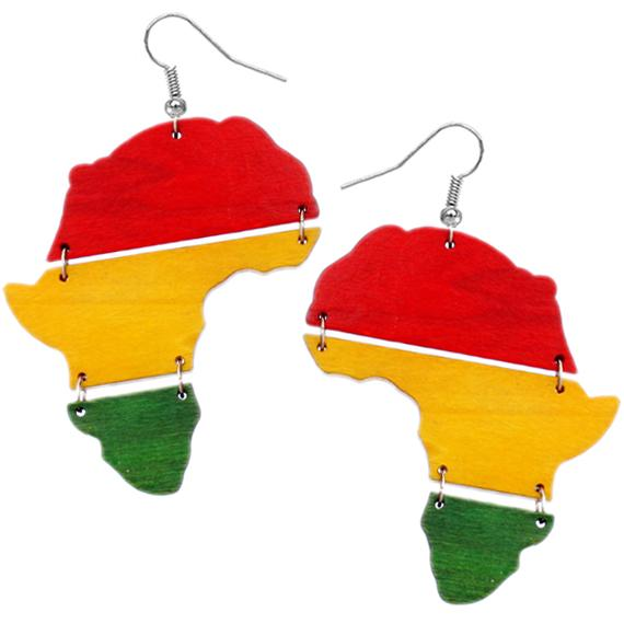 Africa hinged earring (yellow,red, green)