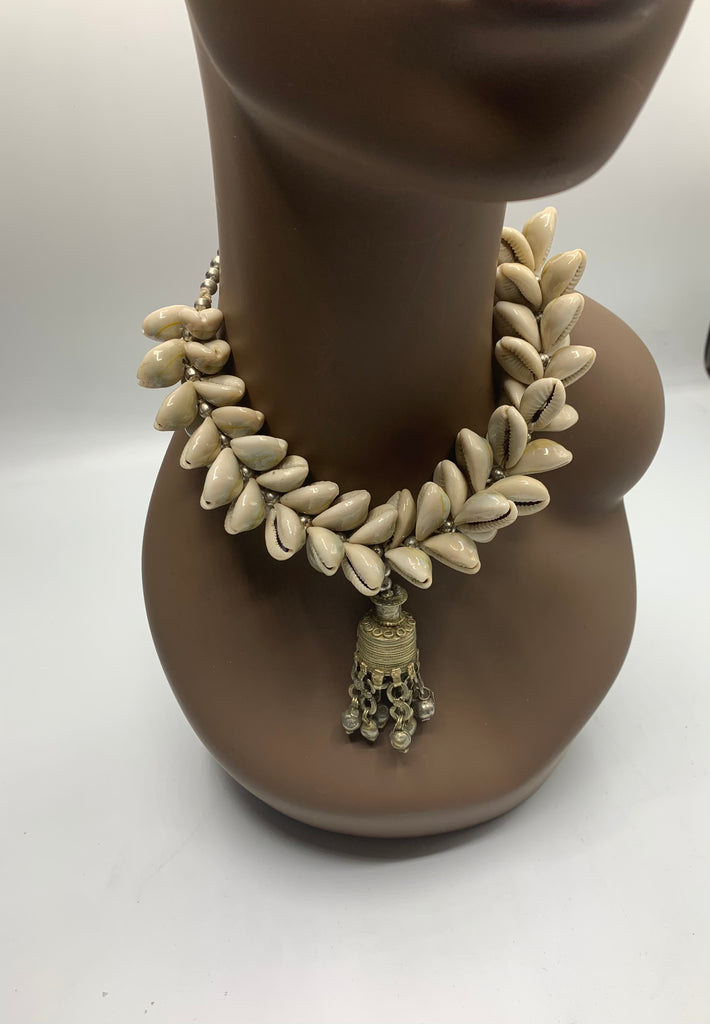 Cowrie shell bell necklace