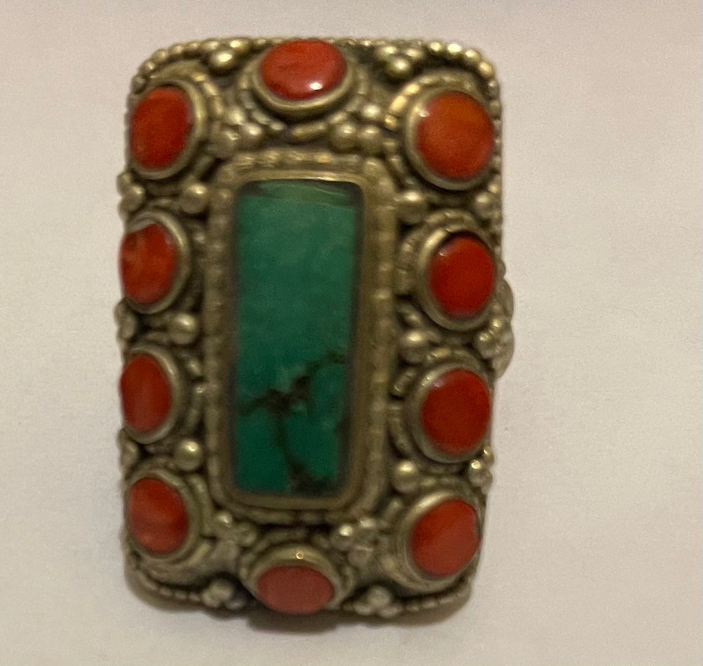 Tibetan Fashion Ring rectangle