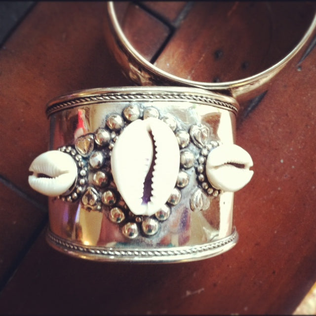 cowrie shell metal cuff