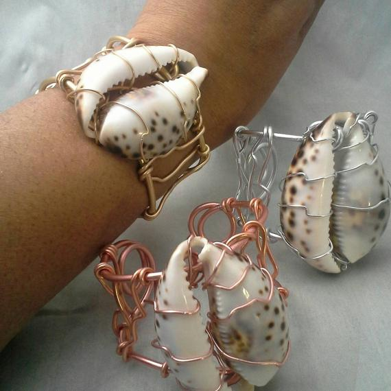 cowrie shell wire wrapped cuff