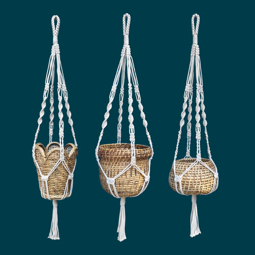 Cane Planters With Macrame Hangers - Set of 3