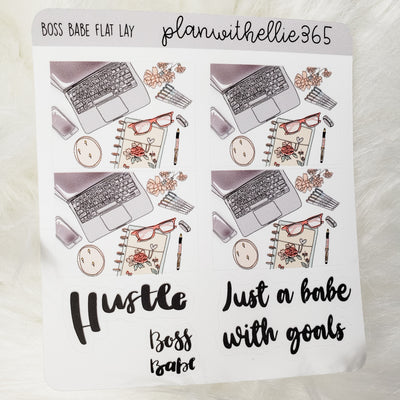 Boss Babe Flat Lay Stickers