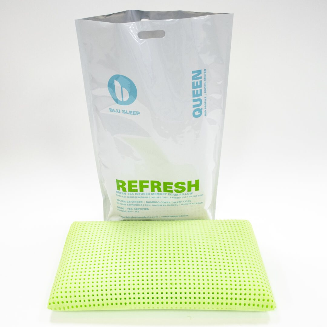 Blu Sleep Refresh Memory Foam Pillow - Infused with Green Tea Oil at Real Deal Sleep
