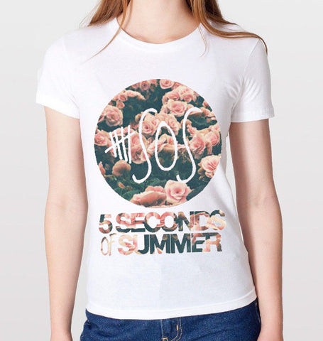 5 Seconds Of Summer Floral T-Shirt (Women)