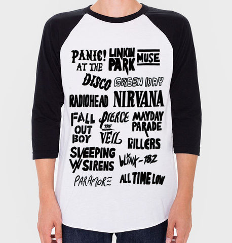 Alternative Rock Bands Baseball Tee (Unisex)