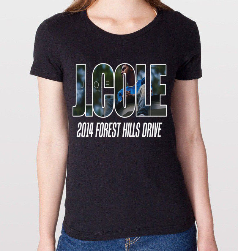 J.COLE 2014 Forest Hills Drive Black T-Shirt (Women) - CrewWear