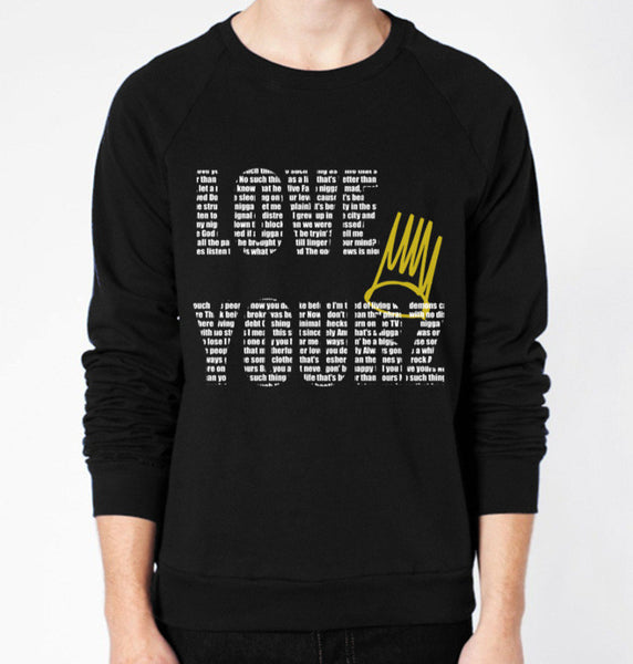 J.COLE Love Yourz Lyrics Crewneck Fleece Sweater (Unisex) - CrewWear
