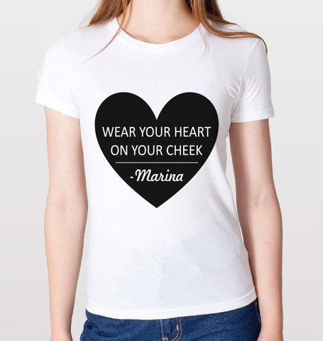 Wear Your Heart On Your Cheek T-Shirt (Women)