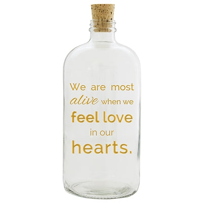 We Are Most Alive When We Feel Love in Our Hearts Apothecary Jar- Gold