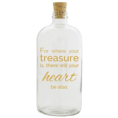 TREASURE CLEAR WITH GOLD PRINT APOTHECARY JAR