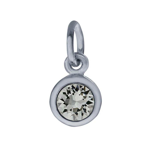 Sterling Petite Penny with Sterling Silver Birthstone Charm with Swarovski® Crystal- April
