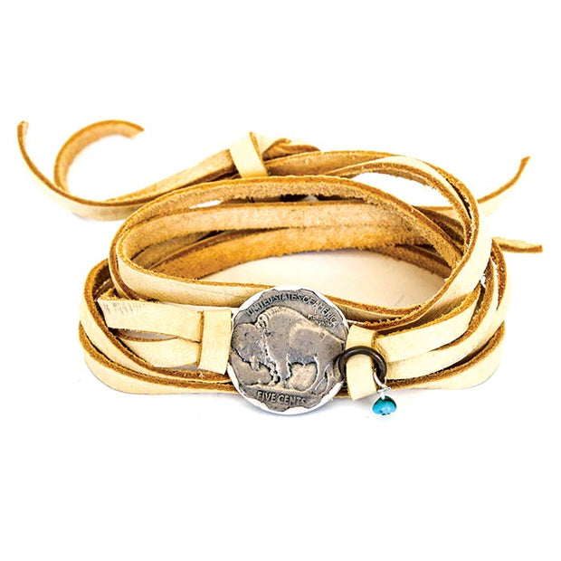Deerskin Leather Wrap Buffalo Head Bracelet
