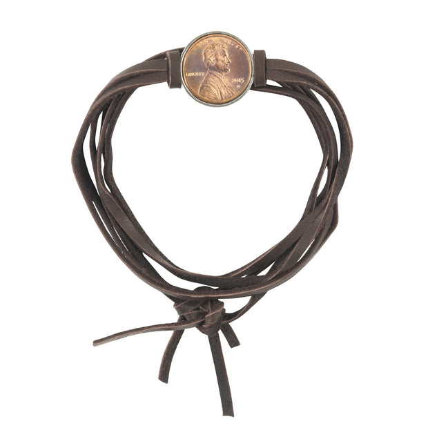 Good Luck Penny Leather Wrap Bracelet Brown. Select custom year for in drop down menu  an additional $10.00