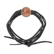 Good Luck Penny Leather Wrap Bracelet Black