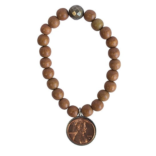 GOOD LUCK PENNY BROWN WOOD BEAD BRACELET