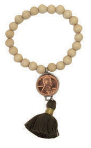 GOOD LUCK PENNY ECRU WOOD BEAD BRACELET- SAND TASSEL