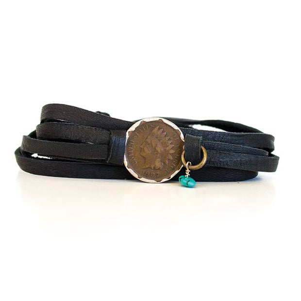 Deerskin Leather Wrap  Indian Head Bracelet Black