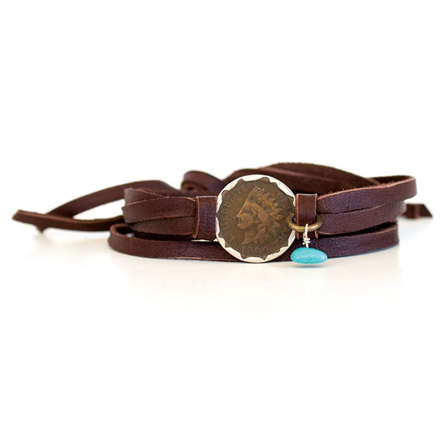 Deerskin Leather Wrap Indian Head Bracelet Brown