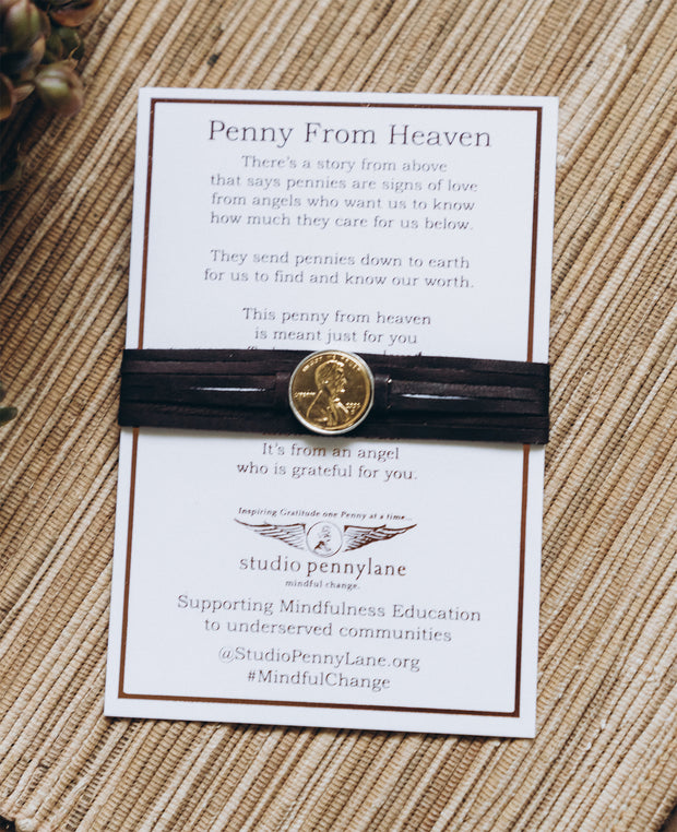 Penny From Heaven Wrap Bracelet with Gold Plated Penny- Brown